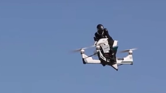 Created by Russian tech startup Hoversurf, the Scorpion is a hoverbike which took to the skies of Dubai in October. After appearing at trade shows earlier in 2017, Hoversurf signed a memorandum of understanding with Dubai Police to develop the concept further. There have been reports the Scorpion has a top speed of 124mph, and would provide another fast response method, should the police