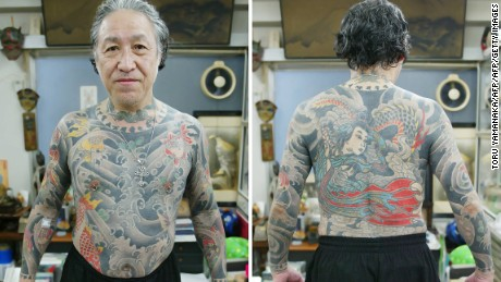 Horiyoshi III shows off his own ink at his studio in Yokohama. He is considered one of Japan's greatest living tattooists.