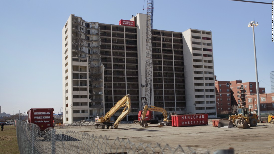 In Chicago, the last remaining building from the notorious Cabrini-Green housing project, pictured, was demolished in March 2011. The complex once housed 15,000 residents and was notorious for its crime, gangs and drugs.