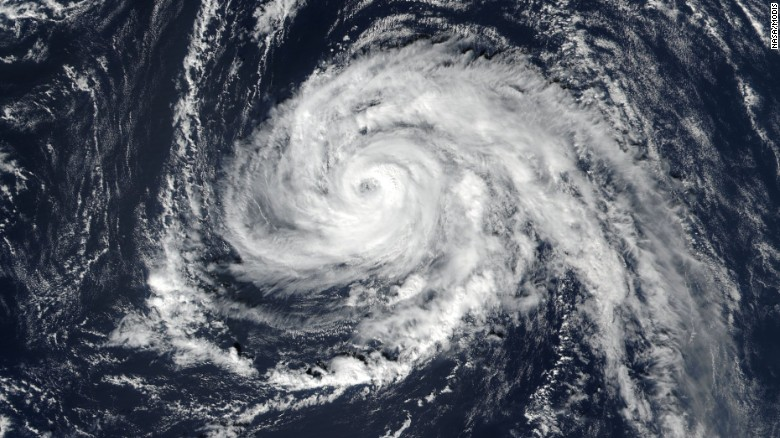 Hurricane Ophelia in the Atlantic Ocean, 2017.