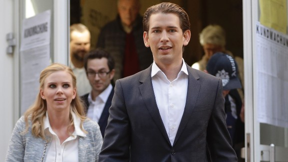 Sebastian Kurz and his girlfriend, Susanne Thier, leaving a polling station after voting in Vienna on Sunday.