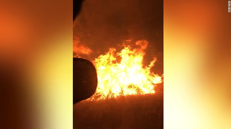 Roommates film harrowing drive through flames