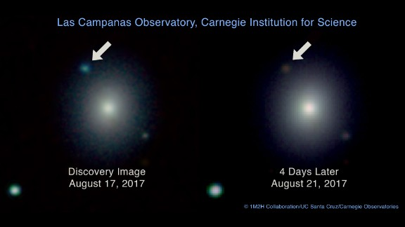 On the left, this Carnegie Observatories image shows the brightness of the stars colliding in the upper left corner on the day it happened. This is juxtaposed with the image on the right of the reddish-brown color as the collision cooled in the days after. The image on the left is also the first to capture visual evidence of a gravitational wave source.