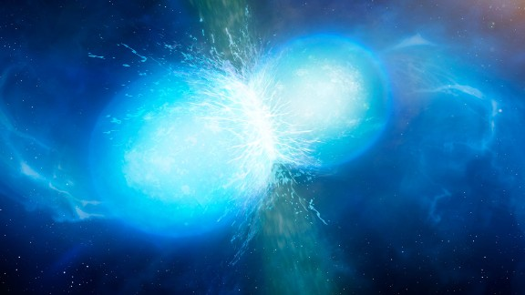 Another artist's illustration showing the moment of impact between the two neutron stars.