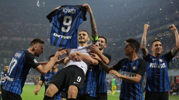 Icardi celebrates scoring his hat-trick