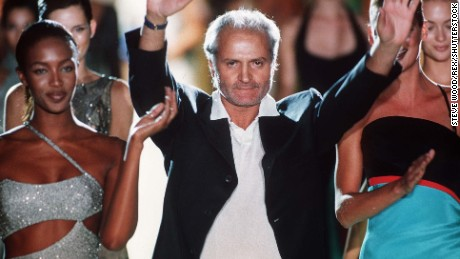 Photo by STEVE WOOD Naomi Campbell and Gianni Versace FASHION SHOW, PARIS, FRANCE - 1996