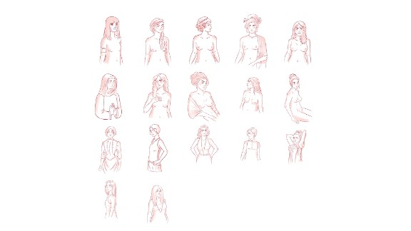 """""""The Guide, Period."""" includes illustrations on historical trends, such as this one on how societal views about perfect breast sizes have changed from Ancient Egypt to today."""