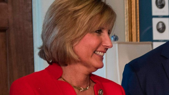 Rep. Claudia Tenney looks on after President Donald Trump signed financial services executive orders and memorandums at the US Treasury Department in Washington on April 21, 2017.