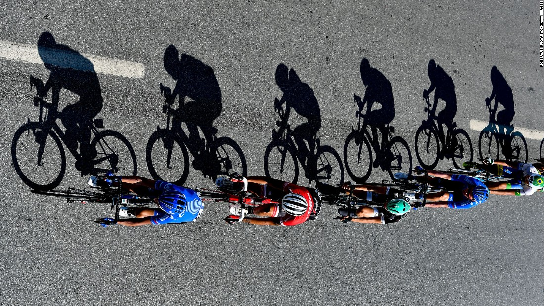 Cyclists compete during Stage 1 of the 53rd Presidential Cycling Tour of Turkey on Tuesday, October 10, in Alanya, Turkey.