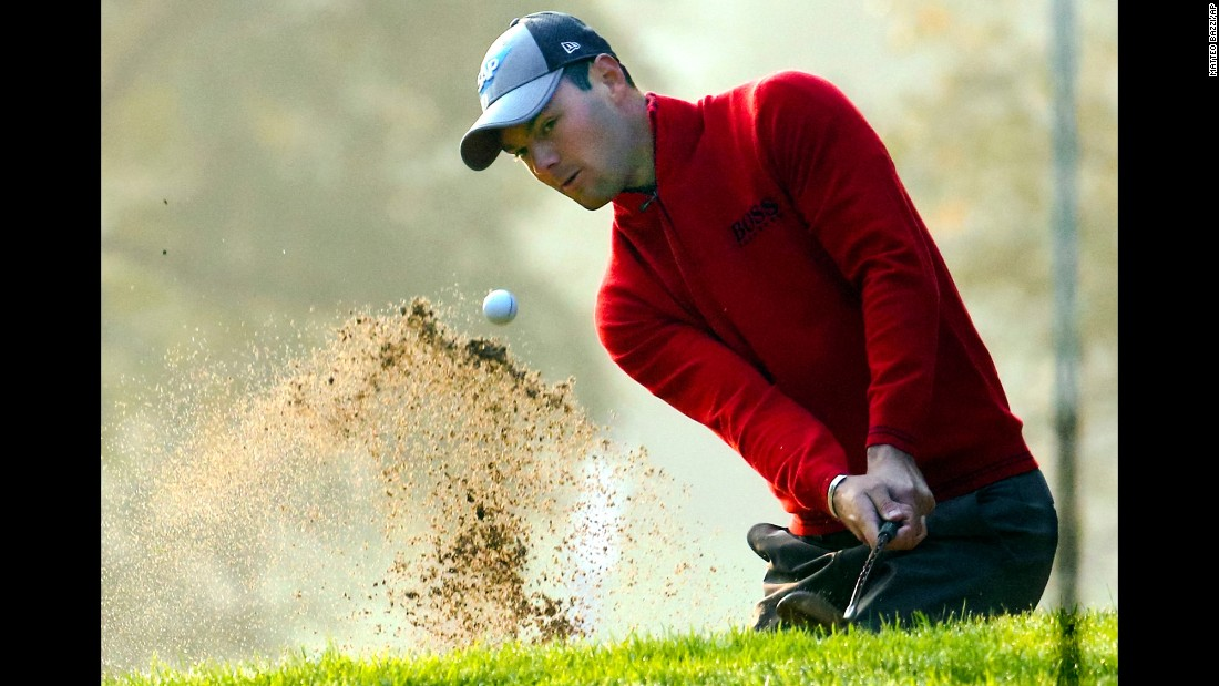 Martin Kaymer of Germany hits the ball during on the second day of the 74th Italian Open golf tournament on Friday, October 13, in Monza, Italy.