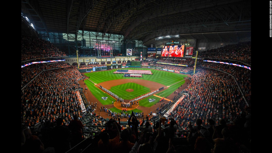 Overall view of the field as the National Anthem plays before Game One of the 2017 ALCS playoff baseball series between the Houston Astros and the New York Yankees on Friday, October 13, in Houston.