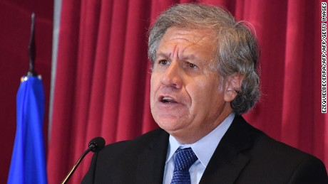 The Secretary General of the Organization of American States (OAS) Luis Almagro speaks during a forum on irregular migrant waves in the Americas, in San Jose, on September 12, 2017.  / AFP PHOTO / EZEQUIELBECERRA        (Photo credit should read EZEQUIELBECERRA/AFP/Getty Images)