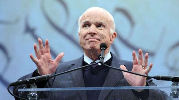 PHILADELPHIA, PA - OCTOBER 16: Sen. John McCain (R-AZ) makes remarks after receiving the the 2017 Liberty Medal from former Vice President Joe Biden (not shown) at the National Constitution Center on October 16, 2017 in Philadelphia, Pennsylvania.