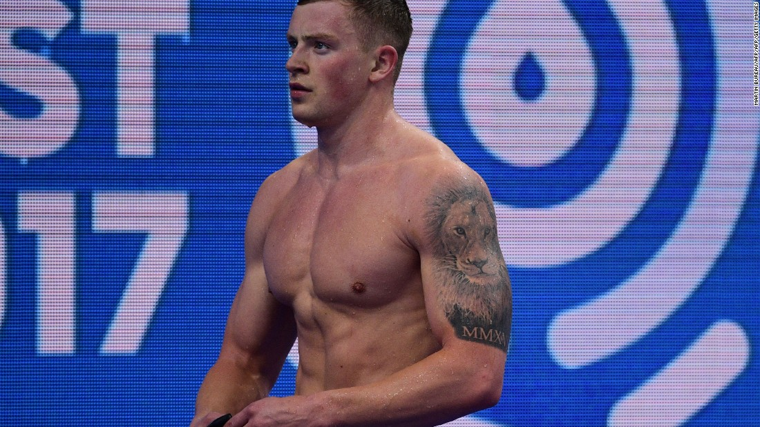 British swimmer Adam Peaty had a lion inked on his left arm after winning two Olympic gold medals in Rio in 2016.