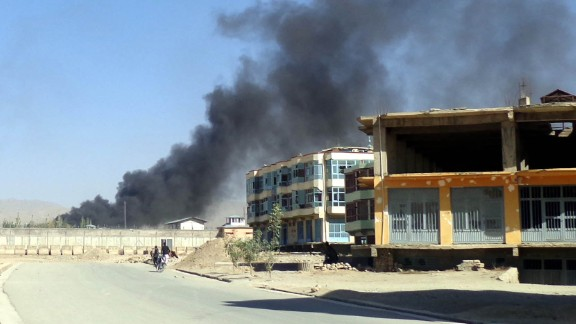 Smoke billows from the scene of one of the bombings Tuesday in Gardez, Afghanistan.