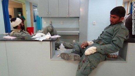 Afghan police officers injured in Tuesday's attack receive treatment at a hospital in Patkia province.