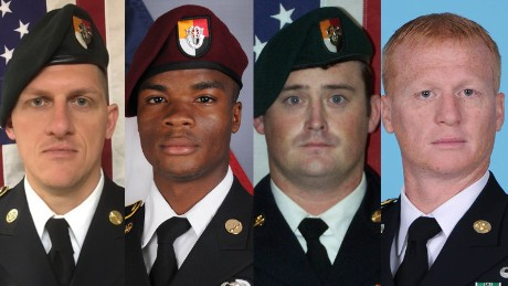 Staff Sgt. Bryan Black, Sgt. La David Johnson, Staff Sgt. Dustin Wright and Staff Sgt. Jeremiah Johnson were killed in an ambush in Niger.