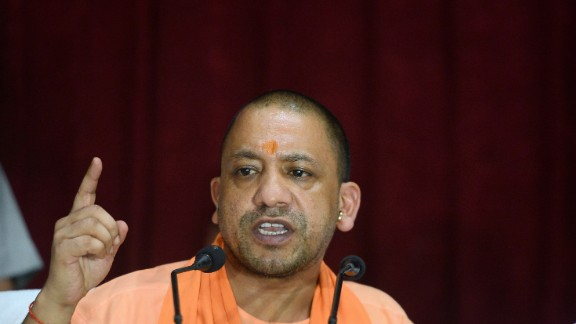 Uttar Pradesh Chief Minister Yogi Adityanath gestures during a press conference, August 13, 2017.