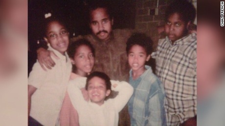 Chaz French and his siblings with their father in the 90s.