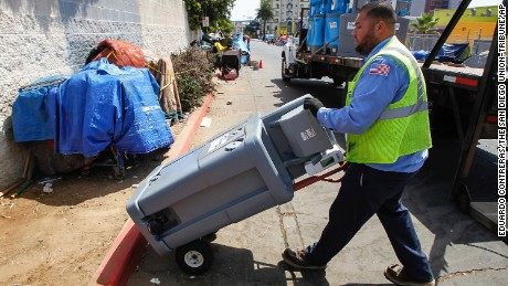 Temporary sanitation stations are set up in downtown San Diego