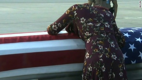 Myeshia Johnson grieves over the casket of her late husband, Sgt. La David Johnson.
