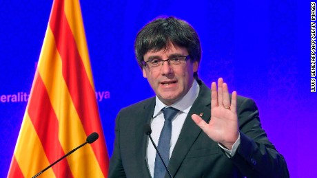 Catalan president Carles Puigdemont gives a press conference in Barcelona, on October 2, 2017. Catalonia's leader Carles Puigdemont said the region had won the right to break away from Spain after 90 percent of voters taking part in a banned referendum voted for independence, defying a sometimes violent police crackdown and fierce opposition from Madrid. / AFP PHOTO / LLUIS GENE        (Photo credit should read LLUIS GENE/AFP/Getty Images)