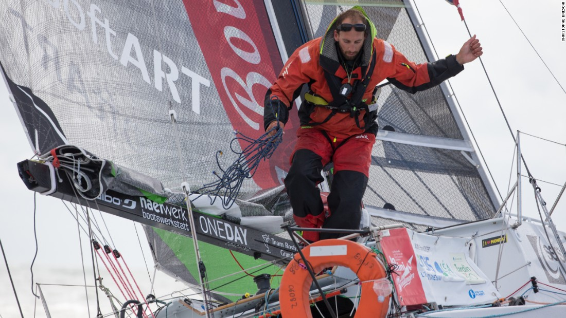 Simon Koster is in the thick of a solo sailing race, the Mini Transat, one of 82 sailors competing in the event.