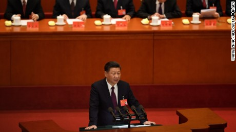 Chinese President Xi Jinping delivers a speech on October 18, 2017.