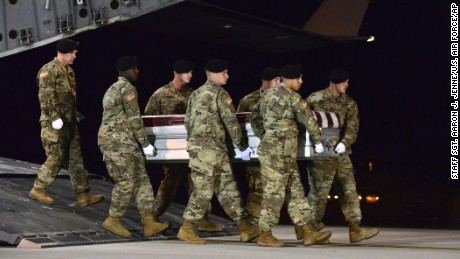 Members of the US Army carry the remains of Staff Sgt. Dustin Wright at Dover Air Force Base in Delaware.