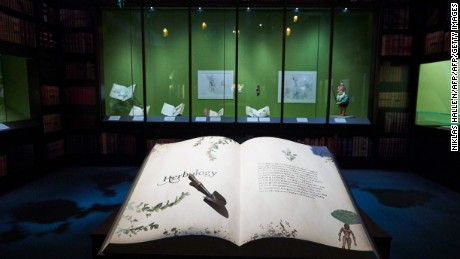 Artefacts and memorabilia are displayed during a preview of 'Harry Potter: A History of Magic' exhibition at the British Library, in central London on October 18, 2017, marking the twentieth anniversary of the publication of Harry Potter and the Philosopher's Stone.  / AFP PHOTO / NIKLAS HALLE'NNIKLAS HALLE'N/AFP/Getty Images