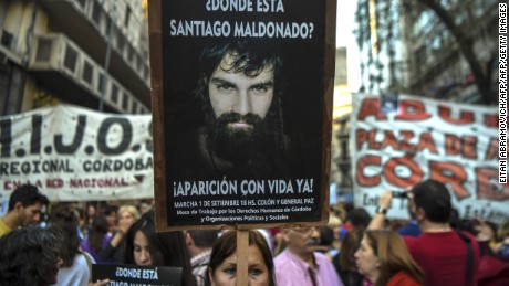 People march during a protest for Santiago Maldonado, who disappeared on August 1st during a Mapuche protest in Chubut province, during a demonstration called by human rights associations asking for his whereabouts, in downtown Cordoba, Argentina, on September 1, 2017. Maldonado disappeared last August 1 when the Gendarmerie dispersed a Mapuche protest in the Pu Lof community, Resistencia, Cushamen Department, some 1850 km southwest of Buenos Aires. He is said to have last been seen being put into a military police vehicle by officers who broke up a demonstration in the southern province of Chubut.  / AFP PHOTO / EITAN ABRAMOVICH        (Photo credit should read EITAN ABRAMOVICH/AFP/Getty Images)