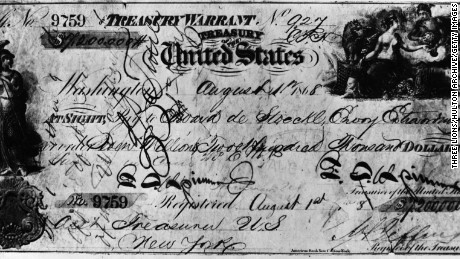 30th March 1867:  The cheque, made out for $ 7,200,000, with which the United States of America purchased Alaska from Russia.