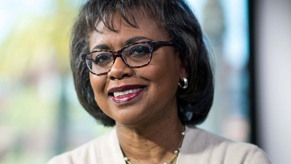 Anita Hill, professor of social policy, law and women's studies at Brandeis University, stands for a photograph after a Bloomberg Technology interview in San Francisco, California, U.S., on Thursday, April 20, 2017. Kapor Capital partner Ellen Pao and Hill discussed harassment in the workplace, as well as diversity and gender equality. Photographer: David Paul Morris/Bloomberg via Getty Images
