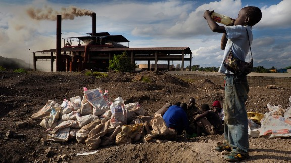 Atop Black Mountain: More than 6 million metric tonnes of lead slag form Black Mountain, a 30-meter pile of toxic lead waste that still contains a sizable quantity of lead, copper, manganese and zinc. Due to a depressed economy and lack of employment among many of Kabwe