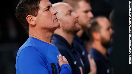 ATLANTA, GA - OCTOBER 12:  Mark Cuban, owner of the Dallas Mavericks, stands during the National Anthem prior to the game against the Atlanta Hawks at McCamish Pavilion on October 12, 2017 in Atlanta, Georgia.  NOTE TO USER: User expressly acknowledges and agrees that, by downloading and or using this photograph, User is consenting to the terms and conditions of the Getty Images License Agreement.  (Photo by Kevin C. Cox/Getty Images)