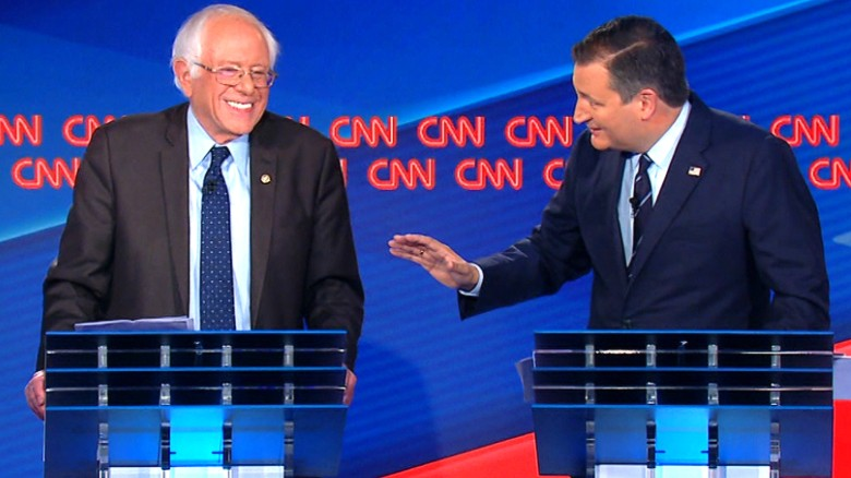 Cruz makes Larry David joke to Sanders at debate