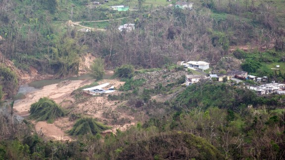Flying to Mayaguez in western Puerto Rico takes you over mudslide after mudslide.