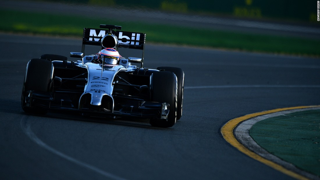 Button on track for McLaren at the 2014 Australian Grand Prix in Melbourne.