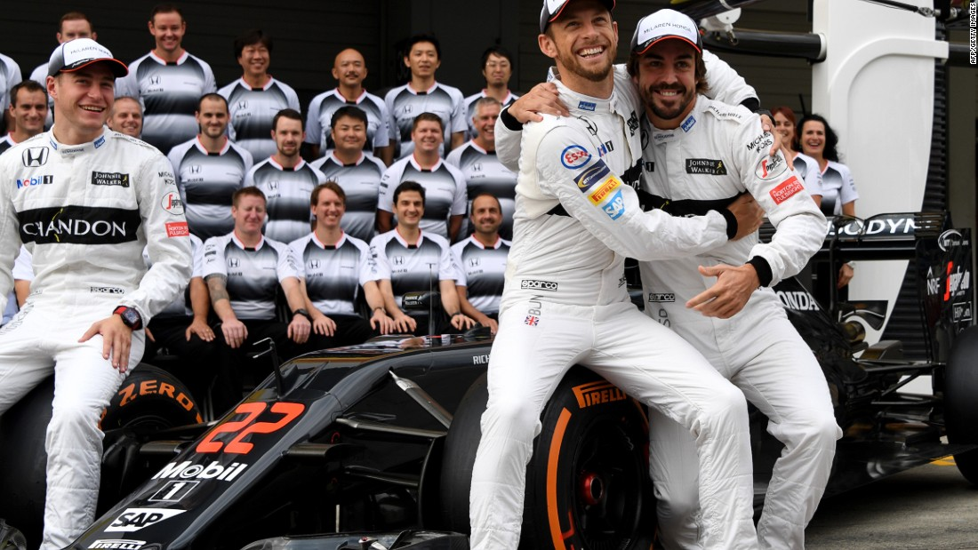 Button would finish his career with McLaren, partnering Fernando Alonso (right) for two seasons before announcing his retirement in 2016.