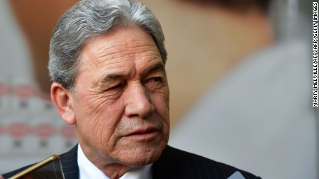 Winston Peters, leader of the New Zealand First party, speaks to the media outside Bowen House in Wellington on October 19, 2017.