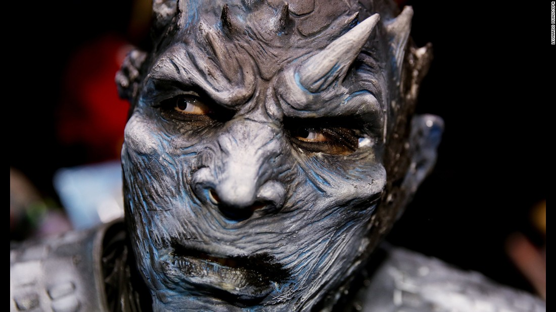 "A person wearing a costume and prosthetic makeup to resemble a White Walker character from the ""Game of Thrones"" series participates at the Salon of Leisure and Fantasy in Bogota on Saturday, October 14."
