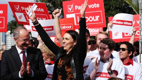 Jacinda Ardern waves to supporters on August 6, 2017 in Auckland, New Zealand.