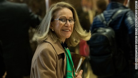 Kathleen Hartnett White arrives at Trump Tower, November 28, 2016 in New York City.