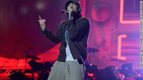 Eminem performing at Lollapalooza in Chicago in 2014.