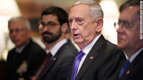 ARLINGTON, VA - OCTOBER 19: U.S. Defense Secretary James Mattis (2nd R) answers reporters' quesitons about the American soliders who were killed in Niger before a lunch meeting with Israeli Defense Minister Avigdor Lieberman and other officials at the Pentagon on October 19, 2017 in Arlington, Virginia. (Chip Somodevilla/Getty Images)