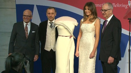 First Lady Melania Trump will donate the gown she wore to the 2017 inaugural balls to the First Ladies Collection at the National Museum of American History. The vanilla silk crepe off-the-shoulder gown with a slit skirt, ruffled accent trim from neckline to hem and claret ribbon around the waist was designed by Hervé Pierre in collaboration with Mrs. Trump.