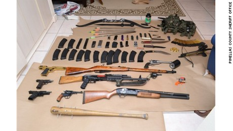 Investigators found this weapons stash, including rifles and ammunition, at a Dunedin, Florida, home.