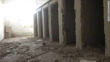 On the lower level of the stadium, ISIS turned changing and locker rooms into prison cells, the Syrian Democratic Forces says.