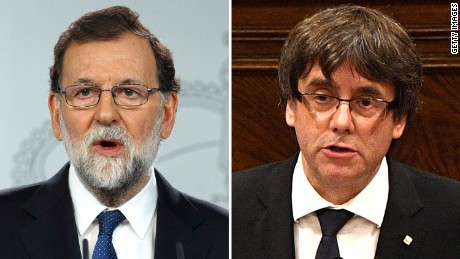 Rajoy (L) brought about the removal of Puigdemont (R) and other Catalan leaders.