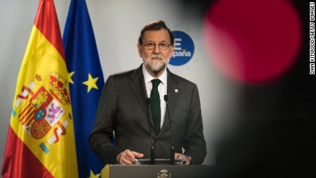 BRUSSELS, BELGIUM - OCTOBER 20:  Spain's Prime Minister Mariano Rajoy answers questions during a press conference on the second day of European Council meetings at the Council of the European Union building on October 20, 2017 in Brussels, Belgium. Britain's Prime Minister Theresa May attended meetings yesterday with the other 27 EU leaders, which concluded with a dinner speech, in which she asked that she could strike a Brexit deal that she can defend to UK voters.  (Photo by Dan Kitwood/Getty Images)